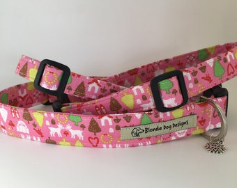 Festive Dog Collar, Ditsy North Pole, Pink Christmas Collar