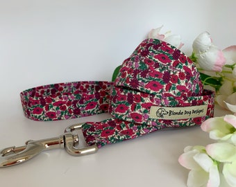 Liberty Dog Lead, Petal & Bud Plum, Floral Dog Leash, NEW