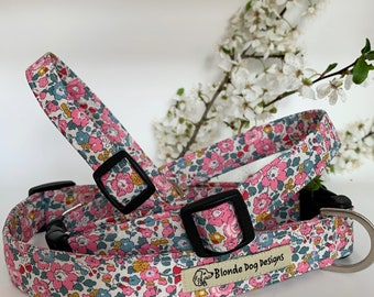 Liberty Dog Collar, Betsy-Ann Pink, Floral Dog Collar
