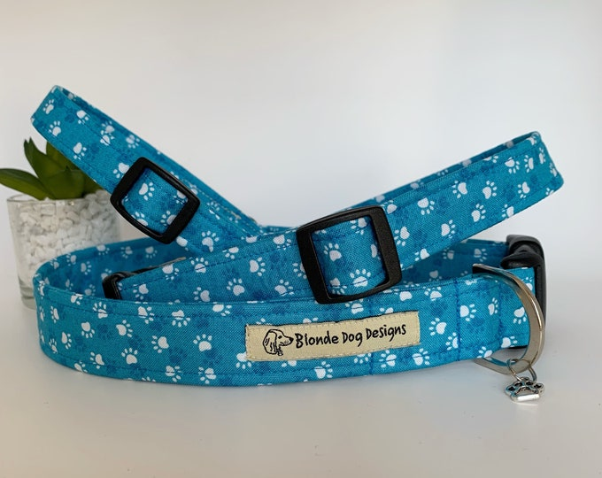 Featured listing image: Paw Print Dog Collar, or, Dog Lead, Pawsome Paws
