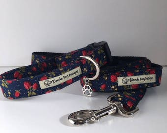 Sale Collar and Lead, Strawberry Fields, Collar and Lead Set,