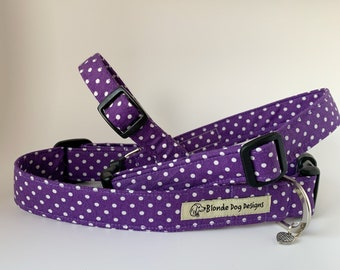 Purple Polka Dot Dog Collar, or, Purple Polka Dot Dog Lead, Dotty Purple