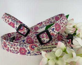 Liberty Dog Collar, D'Anjo Lilac, Floral Dog Collar