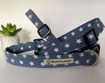 Star Dog Collar, Ringo Silver, Grey Dog Collar