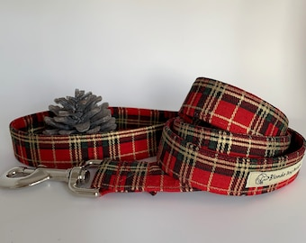 Tartan Dog Lead, Elegant Tartan, Red Dog Leash