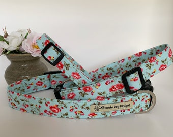 Floral Dog Collar, or, Floral Dog Lead, Summer Blossom Baby Blue