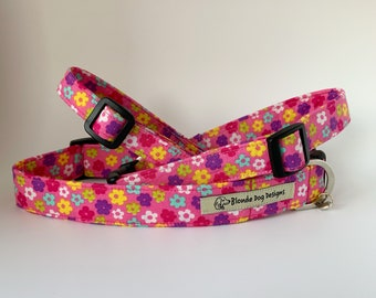 Floral Dog Collar, Hippie Flower Pink