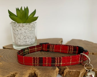 Cat Collar, Elegant Tartan Red