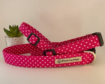 Pink Polka Dot Collar, or, Pink Polka Dot Lead, Fuchsia Pink