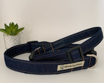 Denim Dog Collar, Double Denim, Jeans Dog Collar