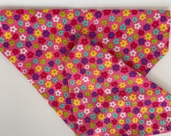 Floral Dog Bandana, Hippie Flower Pink, Luxury Dog Neckerchief
