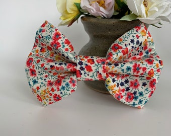 Liberty Dog Bow, Phoebe Coral, Floral Bow Tie