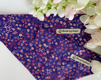 Liberty Dog Bandana, Lily-Mae Purple, Floral Dog Bandana