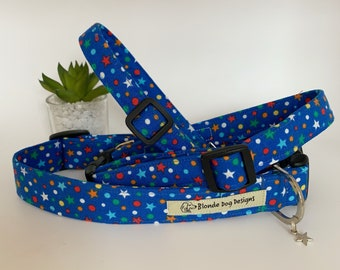 Star Dog Collar, Cosmic, Blue Dog Collar