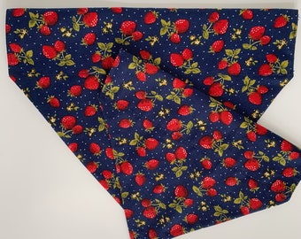 Strawberry Dog Bandana, Strawberry Fields, Luxury Dog Neckerchief