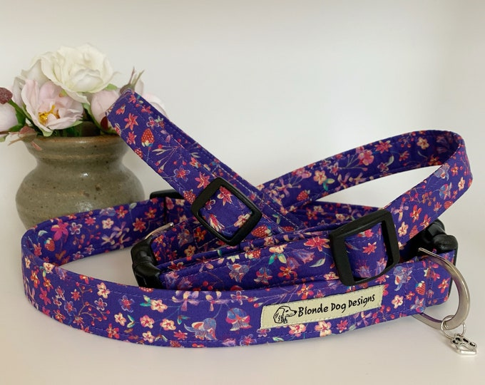 Featured listing image: Liberty Dog Collar, Lily-Mae Purple, Floral Dog Collar