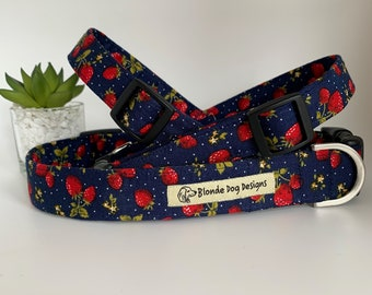 Strawberry Dog Collar, or, Strawberry Dog Lead, Strawberry Fields
