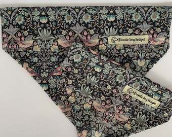 Liberty Dog Bandana, Strawberry Thief Grey, Luxury Neckerchief