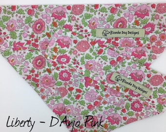 Liberty Dog Bandana, D'Anjo Pink, Floral Neckerchief