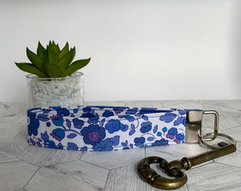Liberty Key Fob, Betsy Blue, Floral Key Ring