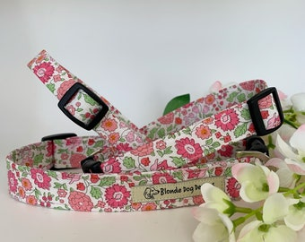 Liberty Dog Collar, D'Anjo Pink, Floral Dog Collar