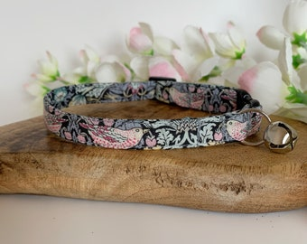 Liberty Cat Collar, Strawberry Thief Grey, Kitty Collar
