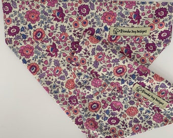 Liberty Dog Bandana, D'Anjo Lilac, Floral Neckerchief