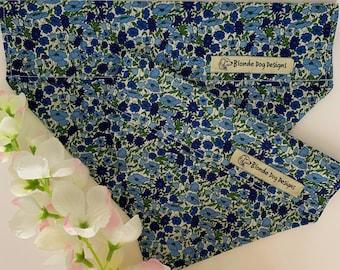 Liberty Dog Bandana, Petal & Bud Blue, Floral Neckerchief