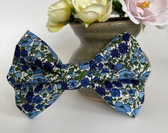 Liberty Dog Bow, Petal & Bud Blue, Floral Bow Tie