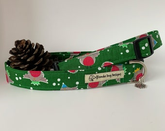 Christmas Dog Collar, Rockin' Robin, Festive Collar, Robin Dog Collar