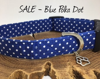 Sale Dog Collar, Blue Polka Dot Collar, Cute Dog Collar