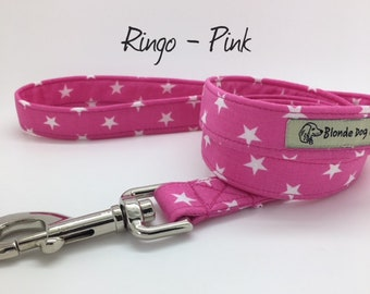 Stars Dog Lead, Ringo Pink, Star Dog Leash