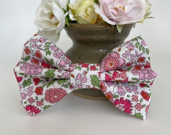 Liberty Dog Bow, D'Anjo Pink, Floral Bow Tie