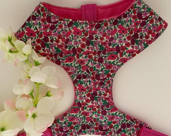 Liberty Dog Harness, Petal & Bud Pink, Floral Harness