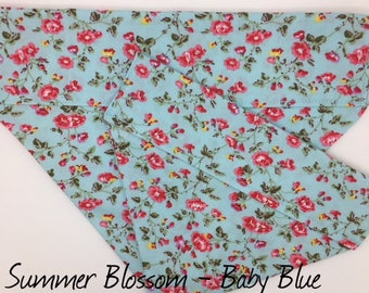 Floral Dog Bandana, Summer Blossom Baby Blue, Luxury Dog Neckerchief