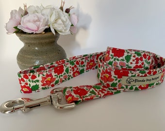 Liberty Dog Lead, D'Anjo Red, Floral Dog Leash