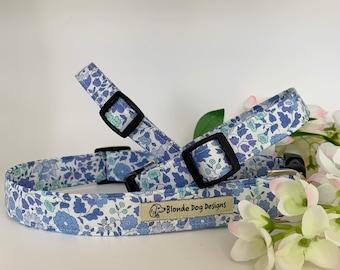 Liberty Dog Collar, D'Anjo Blue, Floral Collar