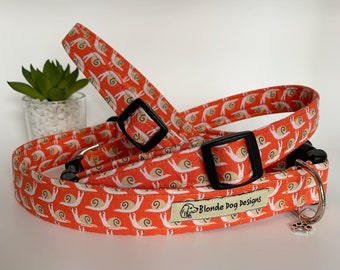 Snail Dog Collar, The Sammy, Orange Collar