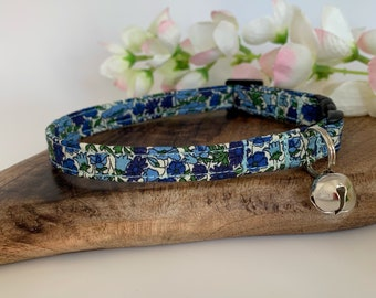 Liberty Cat Collar, Petal & Bud Blue, Floral Collar