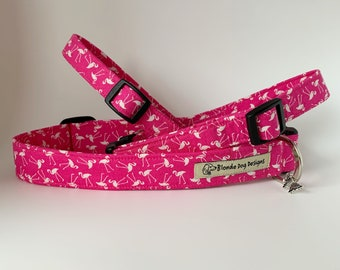 Flamingo Dog Collar, or, Flamingo Dog Lead, Pretty Flamingo