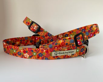 Ditsy Summer Floral Collar, Orange Floral Collar