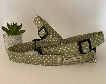 Polka Dot Dog Collar, or, Polka Dot Dog Lead, Dotty Sage