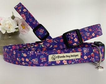 Liberty Dog Collar, Lily-Mae Purple, Floral Dog Collar