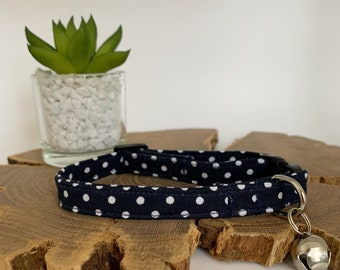 Polka Dot Cat Collar, Dotty Midnight Blue
