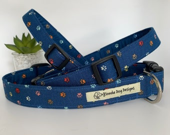 Paw Print Dog Collar, or, Dog Lead, Little Paw Prints