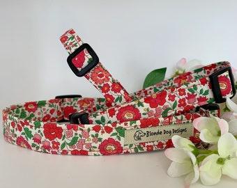 Liberty Dog Collar, D'Anjo Red, Floral Dog Collar
