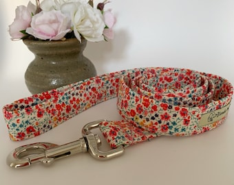 Liberty Dog Lead, Phoebe Coral, Floral Dog Lead