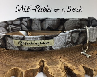 Sale Dog Collar, Pebbles On A Beach, Grey Collar