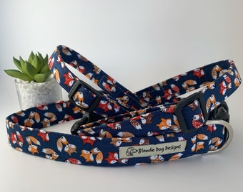 Fox Dog Collar or, Fox Dog Lead, Felix Fox Navy