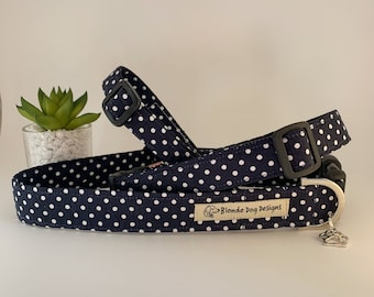 Polka Dot Dog Collar, or, Polka Dot Dog Lead, Dotty Midnight Blue